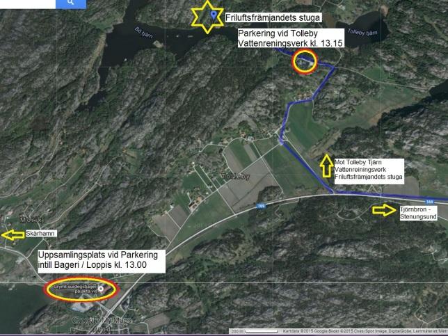 Tibbeträff - Friluftsfrämjandet, Tjörn, Bö Tjärn och Tolleby Tjärn - Översiktsbild - Karta 2